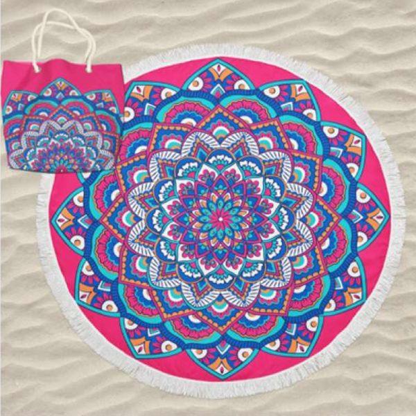 Toalha de Praia Microfibra Redonda Mandala Rosa 180 cm + Saco de Praia