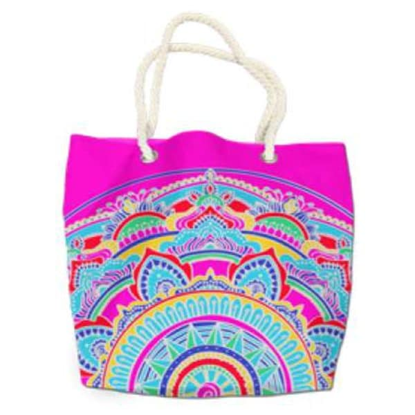 Pink Multicolor Mandala Round Microfiber Beach Towel Beach Bag