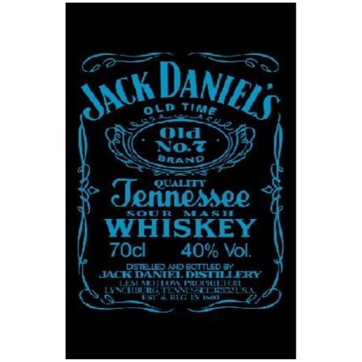 Toalha de Praia Microfibra Jack Daniels Preto-Azul Fluorescente 180 x 100 cm