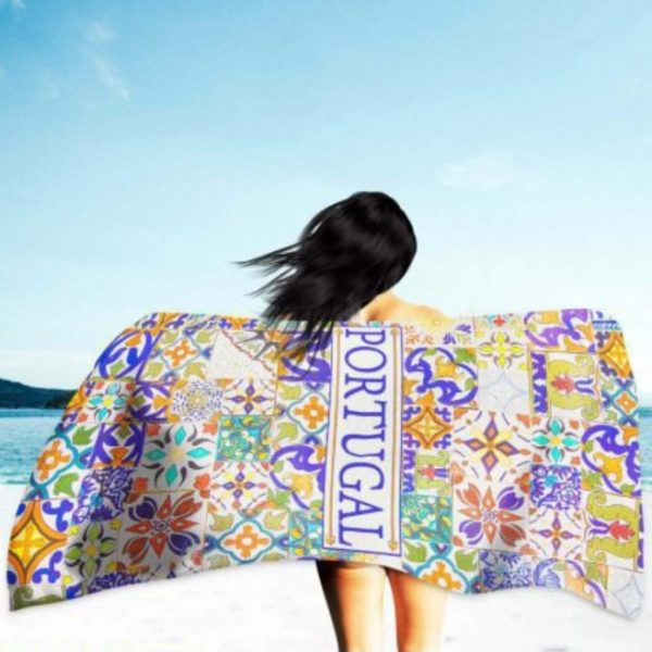 Portugal Mosaics Microfiber Beach Towel 180 x 100 cm