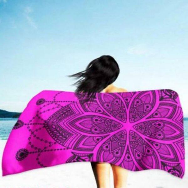 Pink Mandala Microfiber Beach Towel 180 x 100 cm