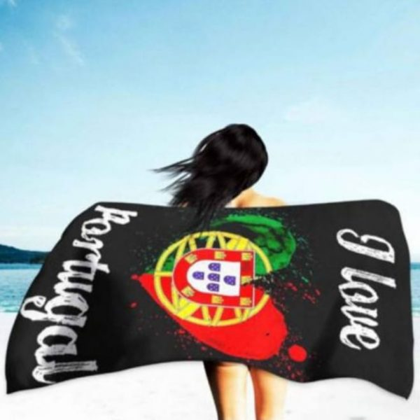 Portugal Flag Heart Microfiber Beach Towel 180 x 100 cm