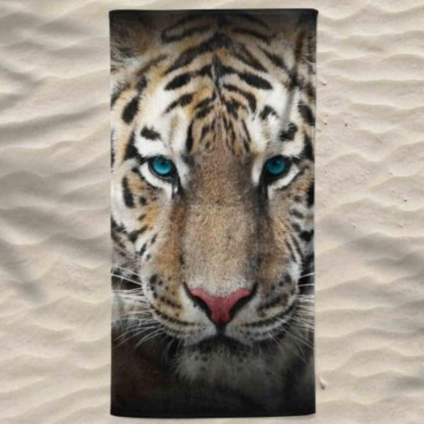 Toalha de Praia Microfibra Tigre 180 x 100 cm