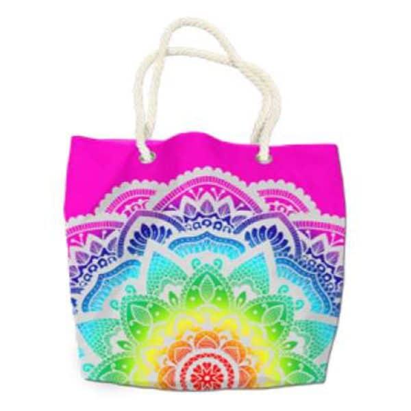Microfiber Round Beach Towel Mandala Multicolored Star Beach Bag