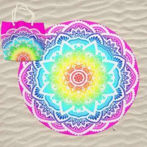 Toalha de Praia Microfibra Redonda Mandala Multicolorida Estrela 180 cm + Saco de Praia