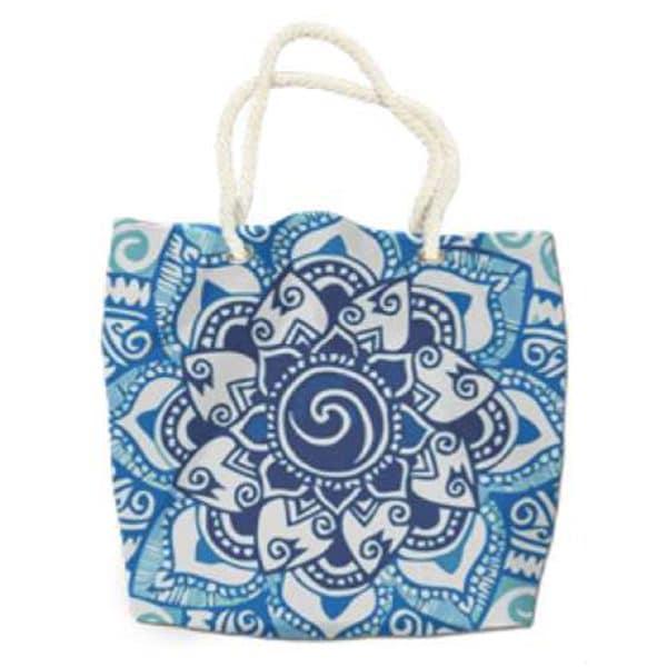 Blue Mandala Microfiber Round Beach Towel Bag 180 cm