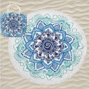 Toalha de Praia Microfibra Redonda Mandala Azul 180 cm + Saco de Praia
