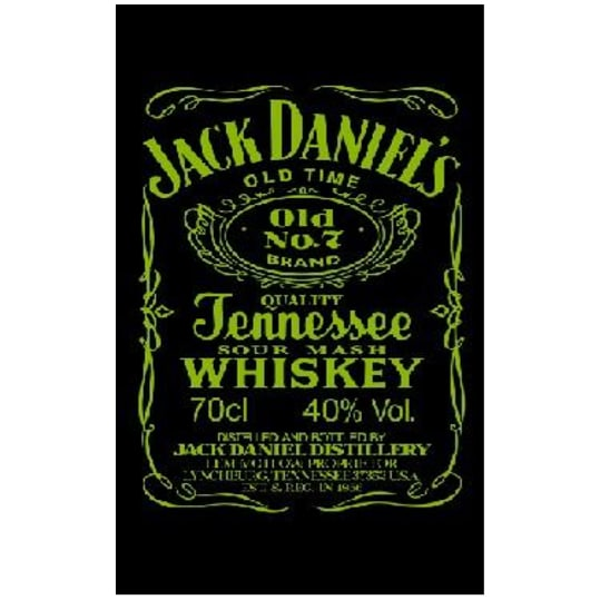 Toalha de Praia Microfibra Jack Daniels Preto-Amarelo Fluorescente 180 x 100 cm