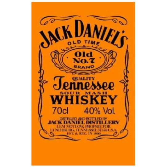 Toalha de Praia Microfibra Jack Daniels Laranja-Preto Fluorescente 180 x 100 cm