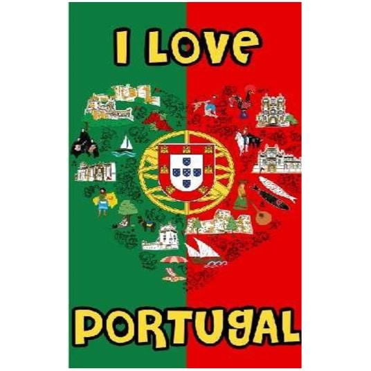 Toalha de Praia Microfibra Coração Portugal Bandeira 180 x 100 cm