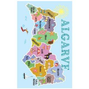 Toalha de Praia Microfibra Mapa do Algarve 180 x 100 cm