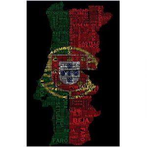 Toalha de Praia Microfibra Mapa Portugal Letras 180 x 100 cm