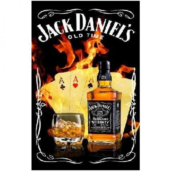 Toalha de Praia Microfibra Garrafa Jack Daniels Toalha de Praia Microfibra Garrafa Jack Daniels Poker & Garrafa 180 x 100 cm