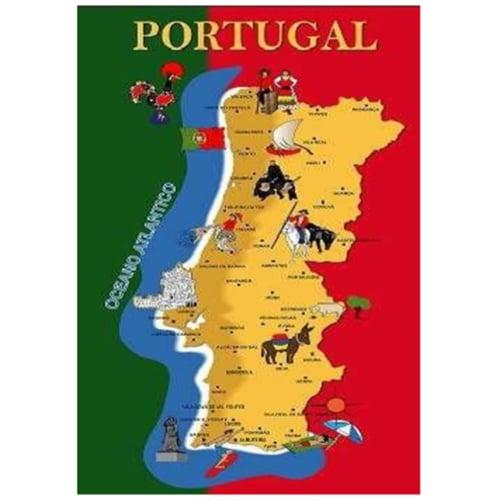 Toalha de Praia Microfibra Mapa Tradicional de Portugal 180 x 100 cm