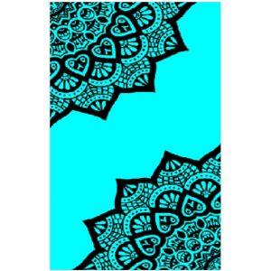 Toalha de Praia Microfibra Duas Mandalas Azuis Fluorescente 180 x 100 cm