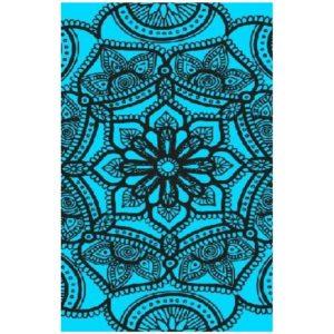 Toalha de Praia Microfibra Mandala Azul Fluorescente 180 x 100 cm