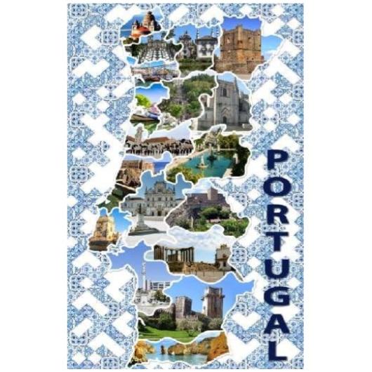 Toalha de Praia Microfibra Mapa Portugal Azulejos 180 x 100 cm