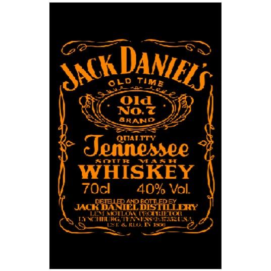 Toalha de Praia Microfibra Jack Daniels Preto-Laranja Fluorescente 180 x 100 cm