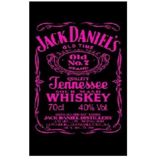 Toalha de Praia Microfibra Jack Daniels Preto-Rosa Fluorescente 180 x 100 cm