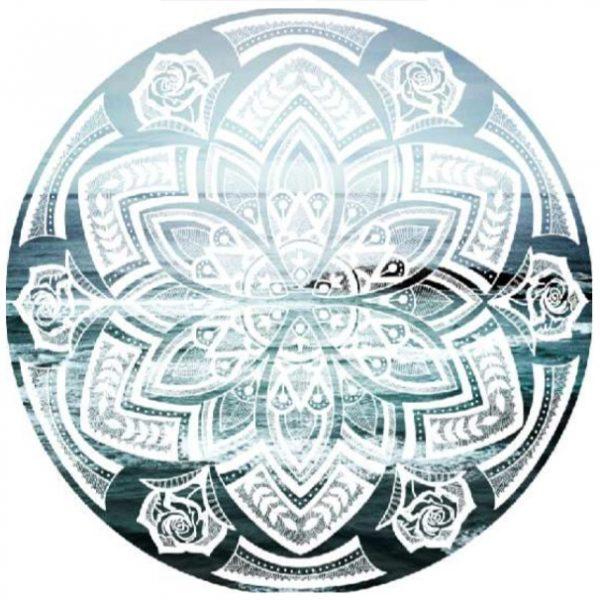 Toalha de Praia Microfibra Redonda Mandala Azul 150 cm