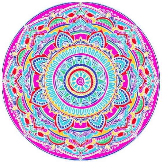 Toalha de Praia Microfibra Redonda Mandala Multicolorida Rosa 180 cm + Saco de Praia