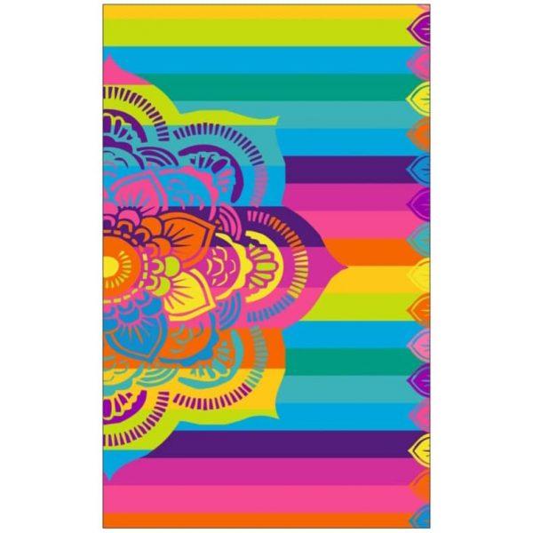 Toalha de Praia Microfibra Mandala com Riscas 180 x 100 cm