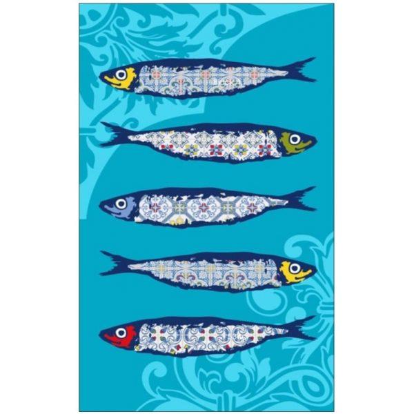 Toalha de Praia Microfibra Sardinhas de Azulejos 180 x 100 cm
