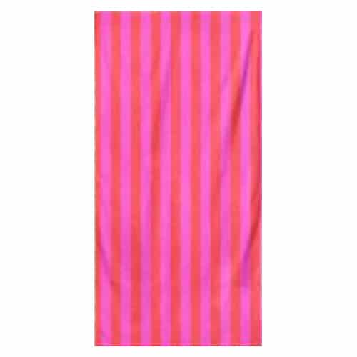 Microfiber Striped Beach Towel - Red and Pink