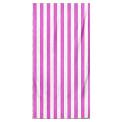 Microfiber Striped Beach Towel - Hot Pink and White