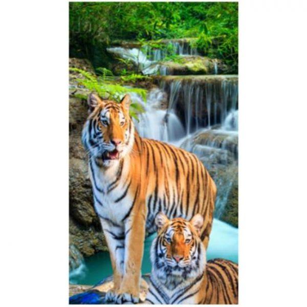Toalha de Praia Microfibra Tigres 180 x 100 cm