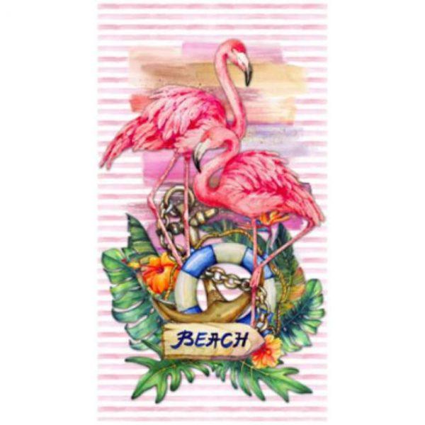 Toalha de Praia Microfibra Flamingos Beach 180 x 100 cm