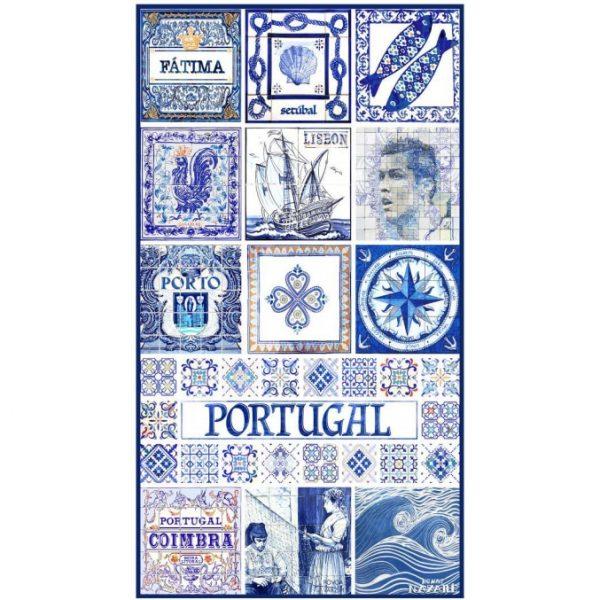 Toalha de Praia Microfibra Azulejos Portugal 5 180 x 100 cm