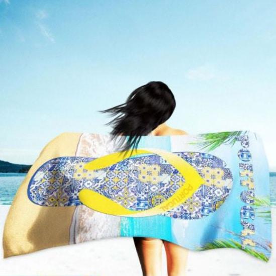 Toalha de Praia Microfibra Chinelo Portugal 180 x 100 cm