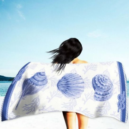 Toalha de Praia Microfibra Conchas 180 x 100 cm