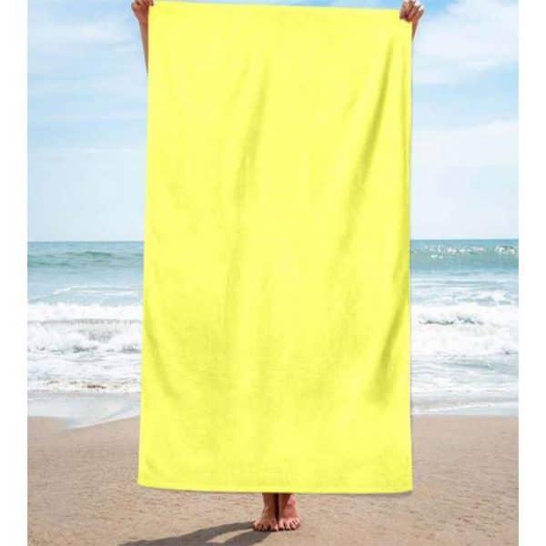 Toalha de Praia Algodão Lisa Amarela