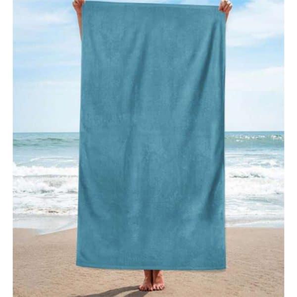 Toalha de Praia Algodão Lisa Azul