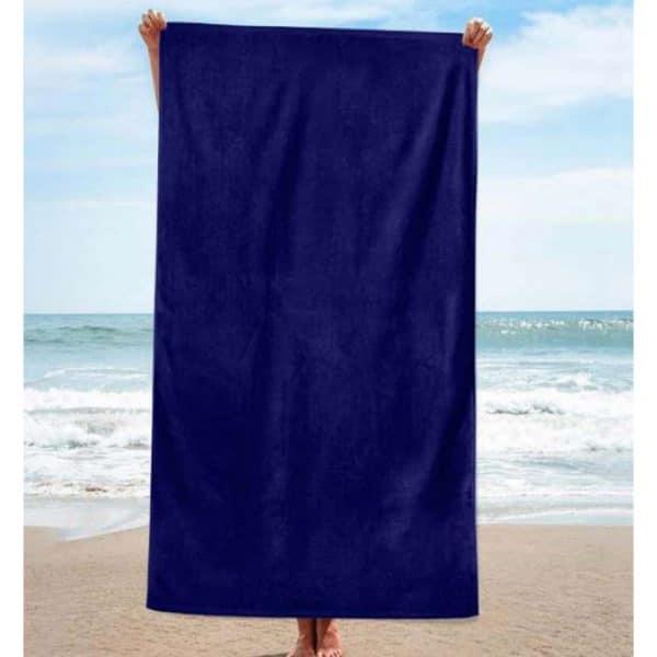 Toalha de Praia Algodão Lisa Azul Escura