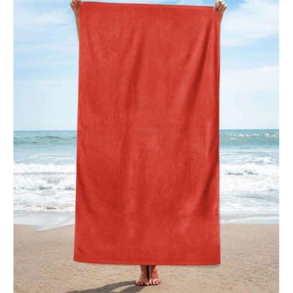 Toalha de Praia Algodão Lisa Vermelha