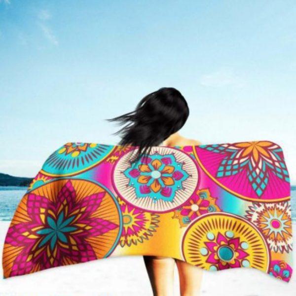 Toalha de Praia Microfibra Mandalas Redondas 180 x 100 cm