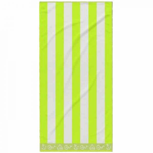 Toalha de Praia Algodão Riscas Verde Claro 180 x 100 cm