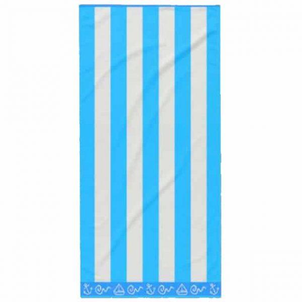 Toalha de Praia Algodão Riscas Azul Claro 180 x 100 cm