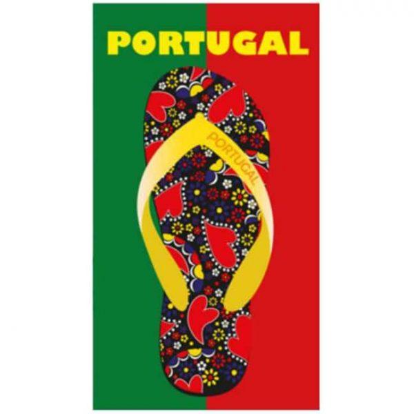 Toalha de Praia Microfibra Chinelo Bandeira Portugal 180 x 100 cm