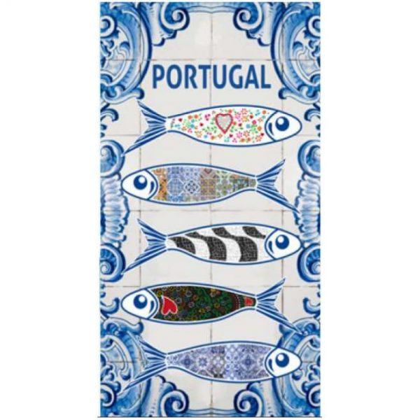 Toalha de Praia Microfibra Sardinhas & Azulejos 180 x 100 cm