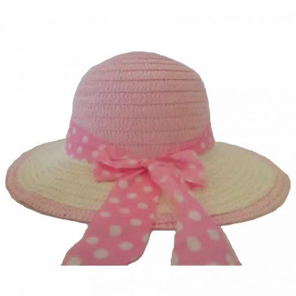 Chapéu de Menina com Fita às Bolinhas Brancas e Pala de Outra Cor