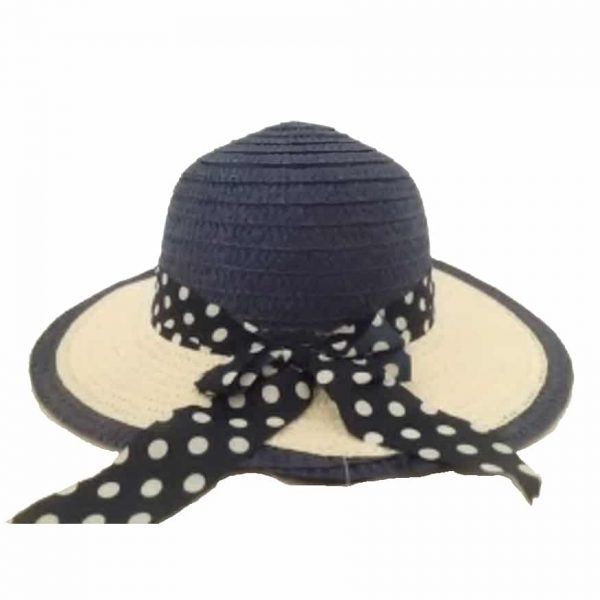 Girl's Hat with White Dot Ribbon