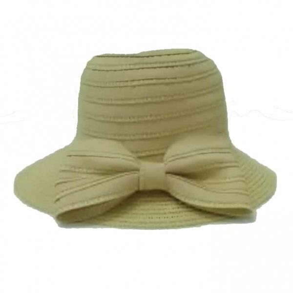 Lady Straw Hat with Bow Tie