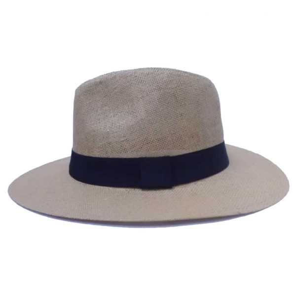 Men's hat with flat brim and black ribbon