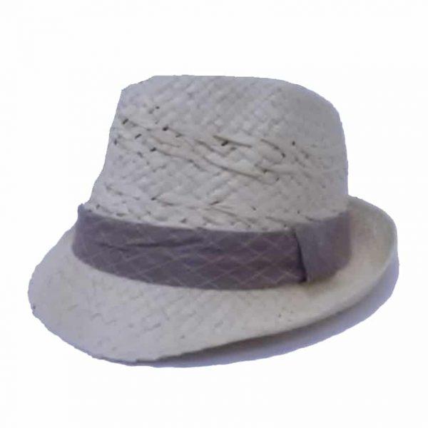 Chapéu Pequeno de Ráfia com Aba Virada e Fita em Xadrez