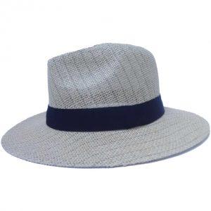 Men's hat with flat brim and black ribbon