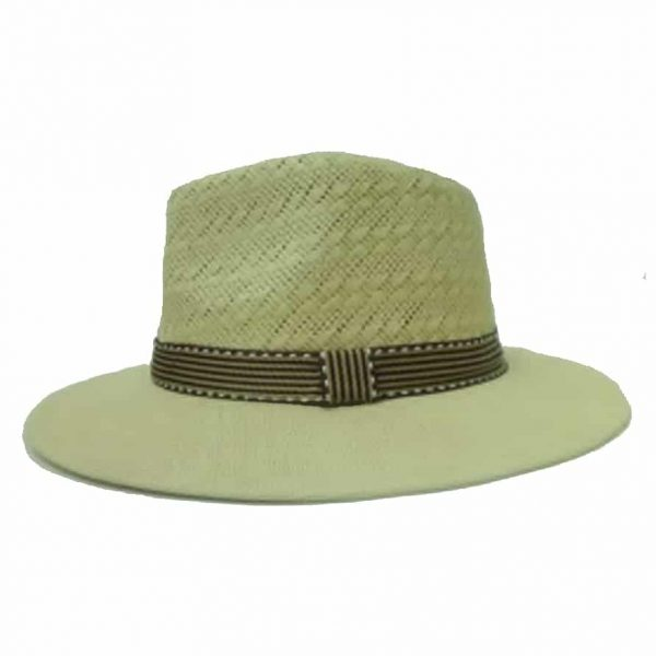 Man Hat with Black and Gold Striped Ribbon